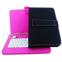 Capa Com Teclado Usb Tablet 7 Pol Adaptador Mini De Couro