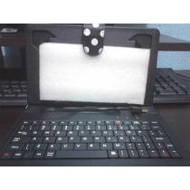 Kit Capa Com Teclado Usb Tablet 7 Pol+mini Adaptador Usb