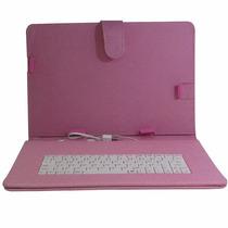 Capa Case Couro C/ Teclado Usb P/ Tablet 9 Polegadas Rosa