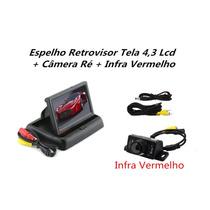 Kit Espelho Retrovisor Monitor Tela Lcd 4.3 + Câmera Ré C800
