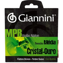 Jogo De Cordas Para Violão Mpb Nylon Giannini Cristal Ouro