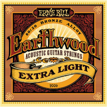 Encordoamento Ernie Ball Violão Aço Earthwood 010 Extra Leve