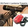 Kit Farol Ledq5 Lanterna Traseira Bike Ciclismo Frete Grátis