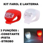 Lanterna Led Luz Bike Farol Lanterna Kit Segurança 3 Funções
