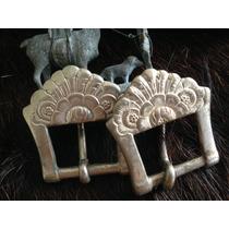 Par Antigas Fivelas 125 Alpaca Eberle Metal Branco Lote 502