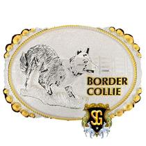 Fivela Border Collie Banho Dourado Prata - Sumetal 5343