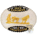 Fivela Meu Esporte É Vaquejada Banho Dourado Sumetal 5346