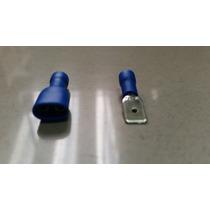 02 Terminais Macho E Femea Com Capa De Plástico Na Cor Azul