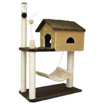 Arranhador Para Gatos Com Casa E Rede - Saopet