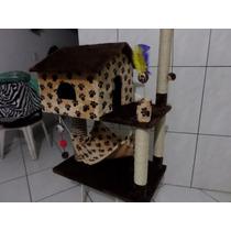 Arranhador Para Gatos Casinha E Rede