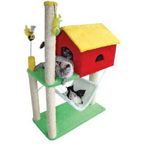 Arranhador Para Gato Casa Com Rede Varias Cores