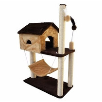 Arranhador House Para Gato Casa Com Rede + Catnip Grátis