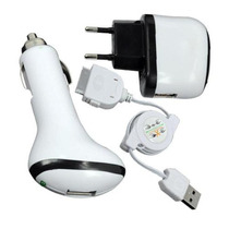 Kit Carregador Ipod Iphone 3x1 3g 4g Veicular Usb Touch Nano