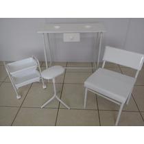 Kit Manicure Pedicure Branco Mesa,carrinho,suporte E Cadeira
