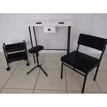 Kit Manicure Pedicure Preto Mesa, Carrinho,suporte E Cadeira