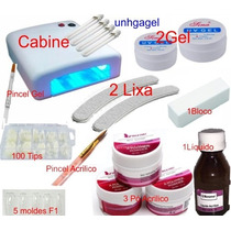 Kit Unha Gel Uv Kit Porcelana Acrilico Cabine Uv Fibra Vidro