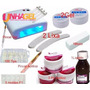 Kit Unha Gel Cabine Uv + Lixas + 2x Gel Uv 200 Fibra Vidro