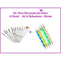 Kit 15 Pinceis + 10 Boleadores P/ Gel Acrigel Art + Brinde!