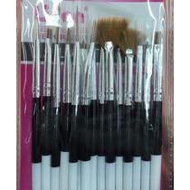 Kit Pincel Gel Uv Lidan Com 15 Pinceis Manicure Acrigel