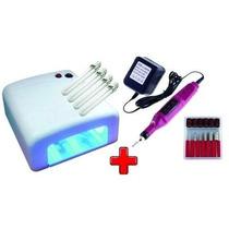 Kit Uv Acrigel Manicure Cabine Estufa Uv + Lixa Elétrica