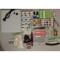 Kit Uv Manicure Profissional Unhas Gel Cabine Lixa Eletrica