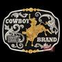 Fivela Montaria Em Touro C/ Fundo Negro - Cowboy Brand