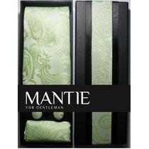 Conjunto Gravata Seda Verde - Importada