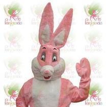 Fantasia Coelho Da Páscoa Luxo Mascote Cabeção Pelúcia Rosa