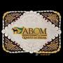 Fivela 3d Abqm Fundo Negro Com Banho Dourado E Prata - Sumet