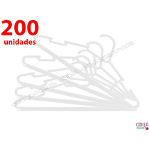 Kit 200 Cabides Plastico Branco - Reforçado Para Arara Roupa