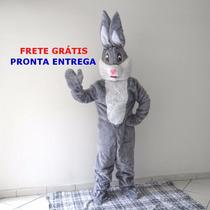 Roupa Fantasia Mascote Cabeção Coelho Cinza Pelúcia Páscoa