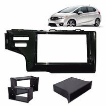 Contra Frente 1 / 2 Din Honda New Fit 2015 2 Furos Dvd Preta