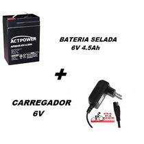 Bateria 6v 4.5ah + Carregador 6v Moto Elétrica Bandeirantes