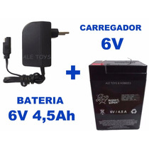 Bateria 6v 4,5ah + Carregador P/ Brinquedos Bandeirantes