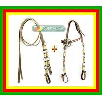R11 Rédeas+ Cabeçada Couro Argolas Inox Cavalo Crioulo Mula