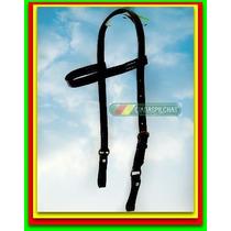 Cabeçada Em Couro C/ Argolas Bronze (cavalo Mula) Rodeio