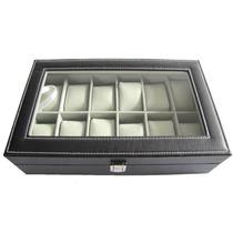 Caixa Estojo Porta 12 Relógios Organizador Luxo Pespontado