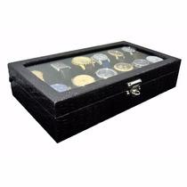 Caixa Estojo Porta 12 Relógios Em Couro Ecológico Sintético