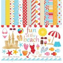 Kit Digita Brincando Na Praia Scrapbook Patchwork Decoupage