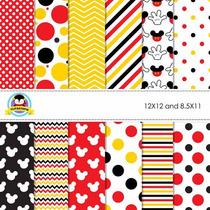 Kit Scrapbook Digital Papéis Mickey Mouse