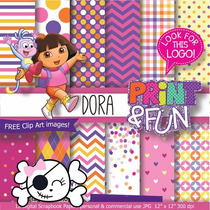 Kit Scrapbook Digital Papéis Dora A Aventureira