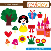 Kit Scrapbook Digita Princesa Branca De Neve 5 Clipart