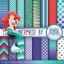 Kit Scrapbook Digital Papéis Ariel Pequena Sereia