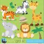 Kit Scrapbook Digital Animais Da Selva 5 Imagens Clipart
