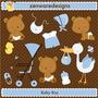 10 Kit Scrapbook Digital Chá De Bebê Chá De Fralda