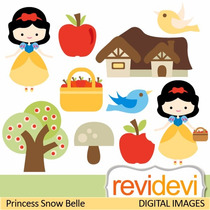 Kit Scrapbook Digita Princesa Branca De Neve 4 Clipart