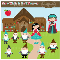 Kit Scrapbook Digita Princesa Branca De Neve 7 Clipart