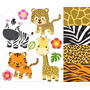 25 Lindos Kits Scrapbook Digital Safari Selva Animais Macaco