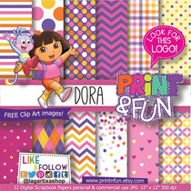 Kit Digital Scrapbook Dora Aventureira + Brinde