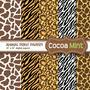 6 Kit Scrapbook Digital Oncinha Zebra Girafa Animal Print